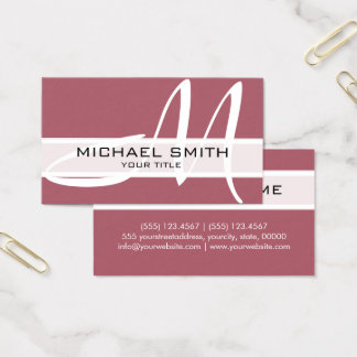 Professional Elegant Monogram Modern Deep Puce Business Card