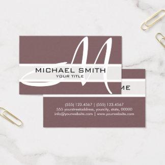 Professional Elegant Monogram Modern Deep Taupe Business Card
