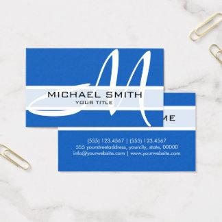 Professional Elegant Monogram Modern Denim Business Card