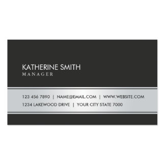Professional Elegant Plain Simple Black and Silver Pack Of Standard Business Cards