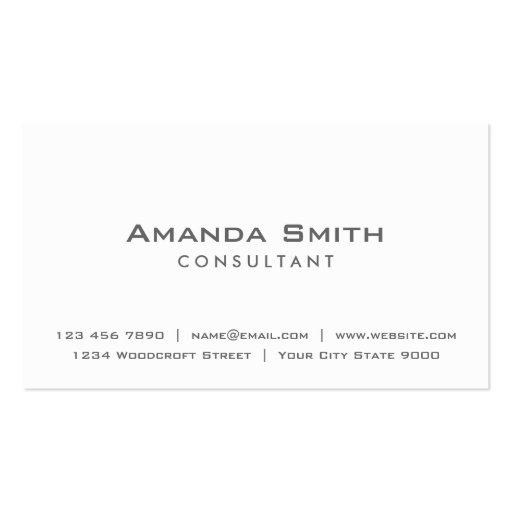 Professional Elegant Plain White Makeup Artist Business Cards