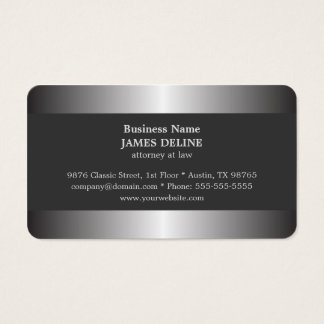 Professional Elegant Silver Metal Attorney Business Card