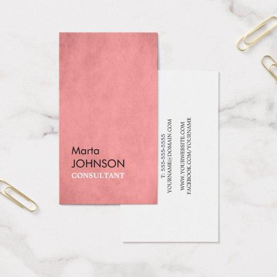 Professional Elegant Texture Pink Consultant Business Card