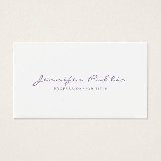 Professional Elegant Violet White Simple Plain Business Card