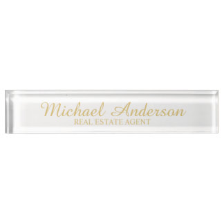 Professional Elegant White and Gold Nameplate
