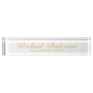 Professional Elegant White and Gold Nameplates