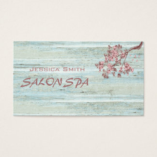 Professional elegant wood texture cherry tree business card