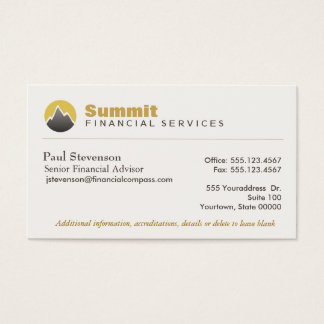Professional Financial Advisor & Analyst Finance Business Card