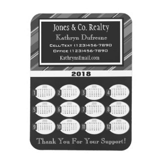 Professional Gray Business 2018 Calendar Magnet