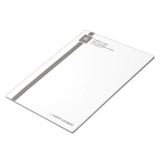 "Professional Grey & White Stripe Monogram 11"" x 8 Notepad"