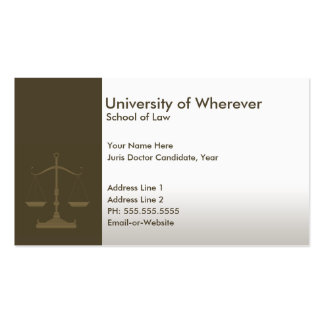 professional justice law student pack of standard business cards