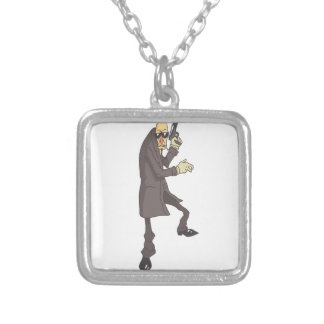 Professional Killer Dangerous Criminal Outlined Silver Plated Necklace