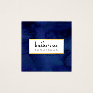 PROFESSIONAL LOGO EMBLEM modern navy watercolour Square Business Card