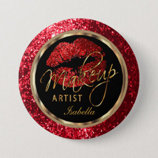 Professional Makeup Artist - Red Glitter and Black 7.5 Cm Round Badge