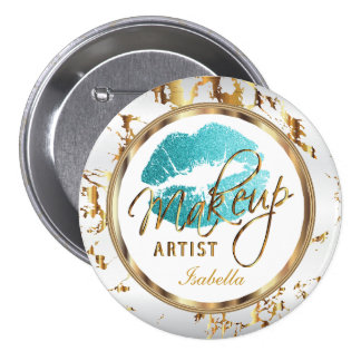 Professional Makeup Artist Teal, White and Marble 7.5 Cm Round Badge