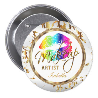 Professional Makeup Rainbow , White and Marble 7.5 Cm Round Badge
