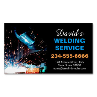 Professional Metal Welding Fabrication Contractor Magnetic Business Cards