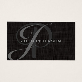 Professional Minimal BLACK Linen- MONOGRAMS Business Card