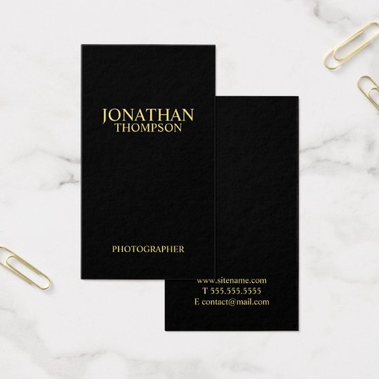 Professional Minimalist Black and Gold Business Card