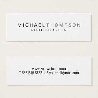 Professional Minimalist Black and White Mini Business Card