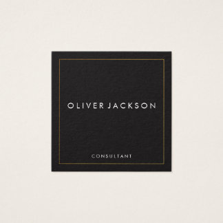 Professional Minimalist Gold Border Square Business Card