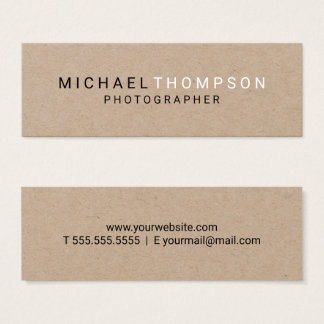 Professional Minimalist Kraft Paper Mini Business Card