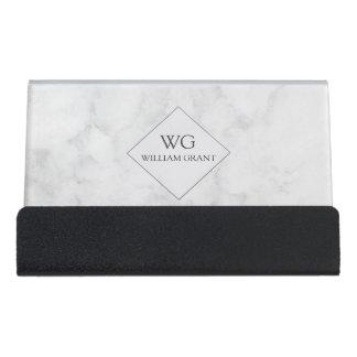 Professional Minimalist White Marble Monogram Desk Business Card Holder