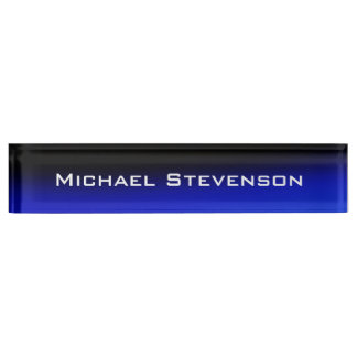 Professional Modern Black Blue Business Nameplate