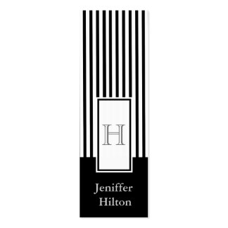 Professional modern black white stripes monogram business cards