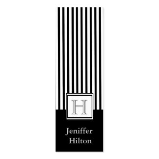 Professional modern black white stripes monogram Double-Sided mini business cards (Pack of 20)
