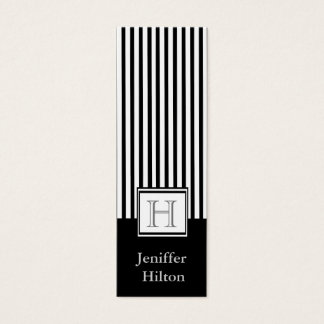 Professional modern black white stripes monogram mini business card