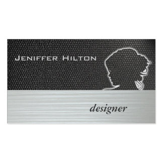 Professional modern chic silhouette hair stylist business card