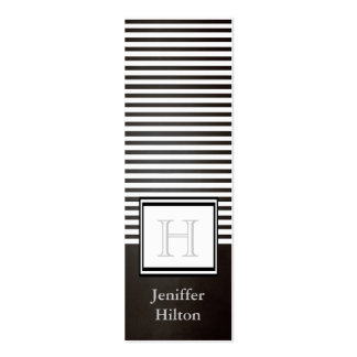 Professional modern chic stripes monogram business card template