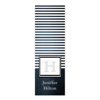 Professional modern chic stripes monogram business card