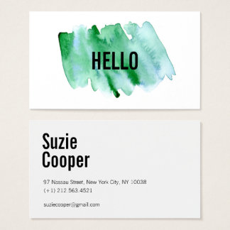 Professional Modern Green Watercolor Business Card