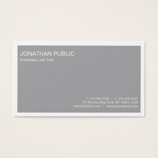 Professional Modern Stylish Grey Simple Plain Business Card