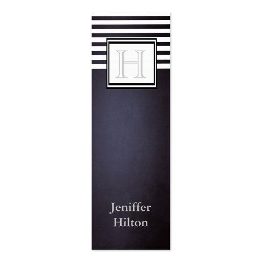 Professional modern trendy stripes monogram business card