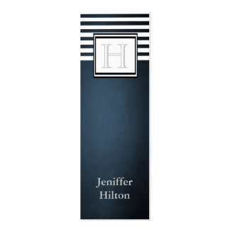 Professional modern trendy stripes monogram Double-Sided mini business cards (Pack of 20)