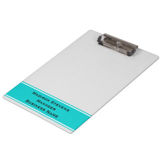 Professional Modern White Pinstripes Teal Clipboar Clipboard