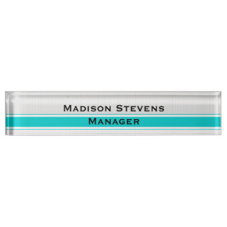 Professional Modern White Pinstripes Teal Desk Nam Name Plate