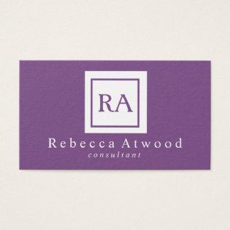 Professional Monogram Business Cards Purple