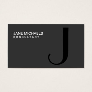 Professional Monogram Elegant Modern Black Business Card