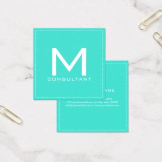 Professional Monogram Elegant Modern Turquoise Square Business Card