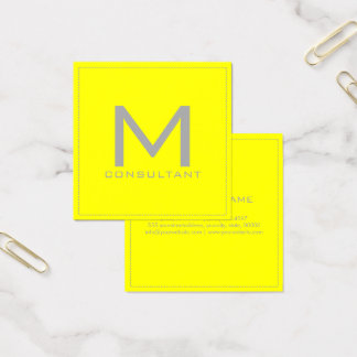 Professional Monogram Elegant Modern Yellow Square Business Card
