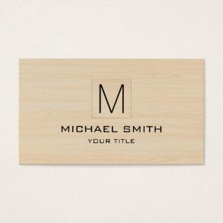 Professional Monogram Elegant Wood Grain Business Card