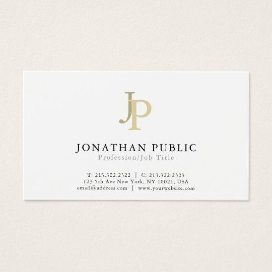 Professional Monogram Modern Elegant White Business Card