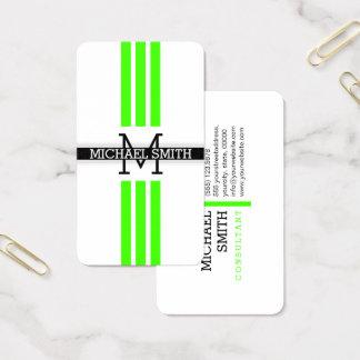 Professional Monogram Modern Harlequin Stripes Business Card