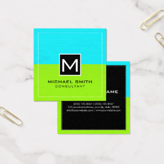 Professional Monogram Modern Lime Cyan Square Business Card