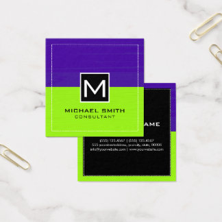Professional Monogram Modern Lime Dark Purple Square Business Card