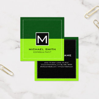 Professional Monogram Modern Lime Green Square Business Card